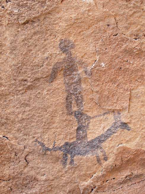 Pictograph - Native American Painting - Man On Horse