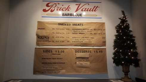 Brick Vault Brewery and BBQ smoked meat menu