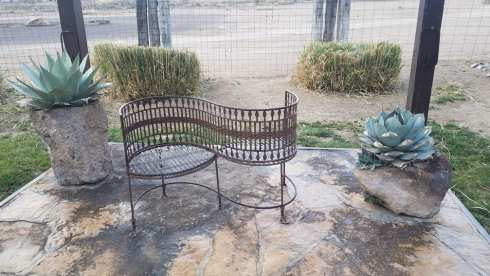 S shaped bench at Gage Gardens