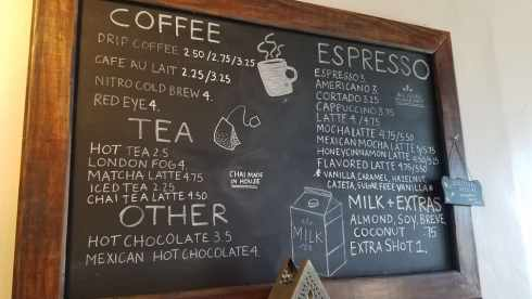 V6 Coffee Bar coffee menu