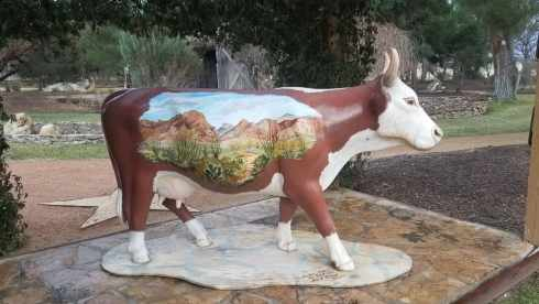 painted cow at Gage Gardens