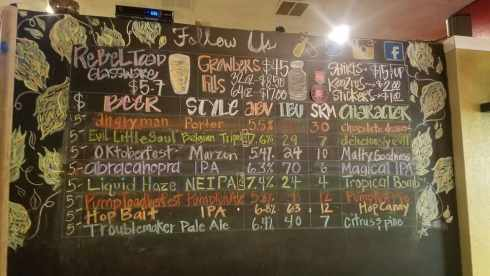 Rebel Toad Co beer menu