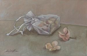 Le petit sac de fleurs séchées (huile sur carton toilé - 55x38 cm)
