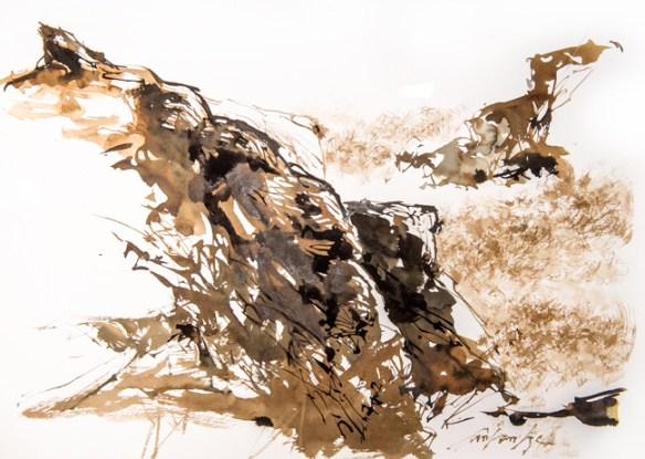 Pointe du Percho. Encre noire et brou de noix sur papier.