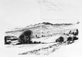 Vaucluse. Vue sur Bedoin et les Dentelles de Montmirail.