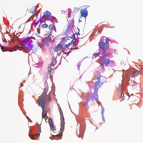 Encres et pinceau sur papier aquarelle