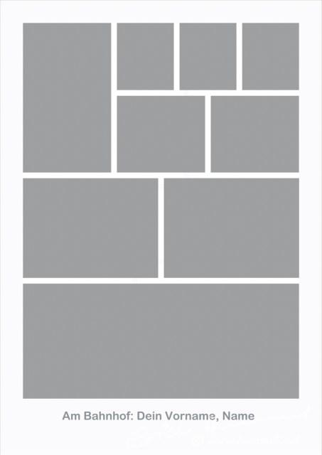 Die grauen Felder müssen mit Fotos gefüllt werden