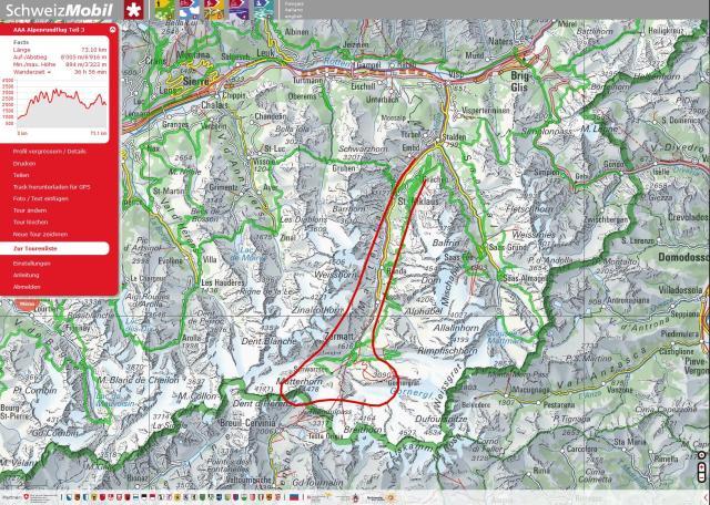 Unsere Route im Mattertal, geflogen im Gegenurzeigersinn