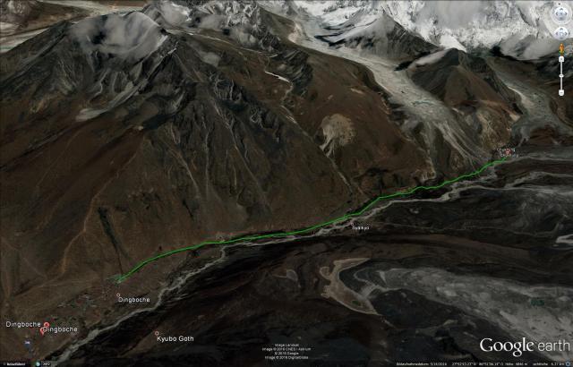 Unsere heutige Route von Dingboche nach Chukhung