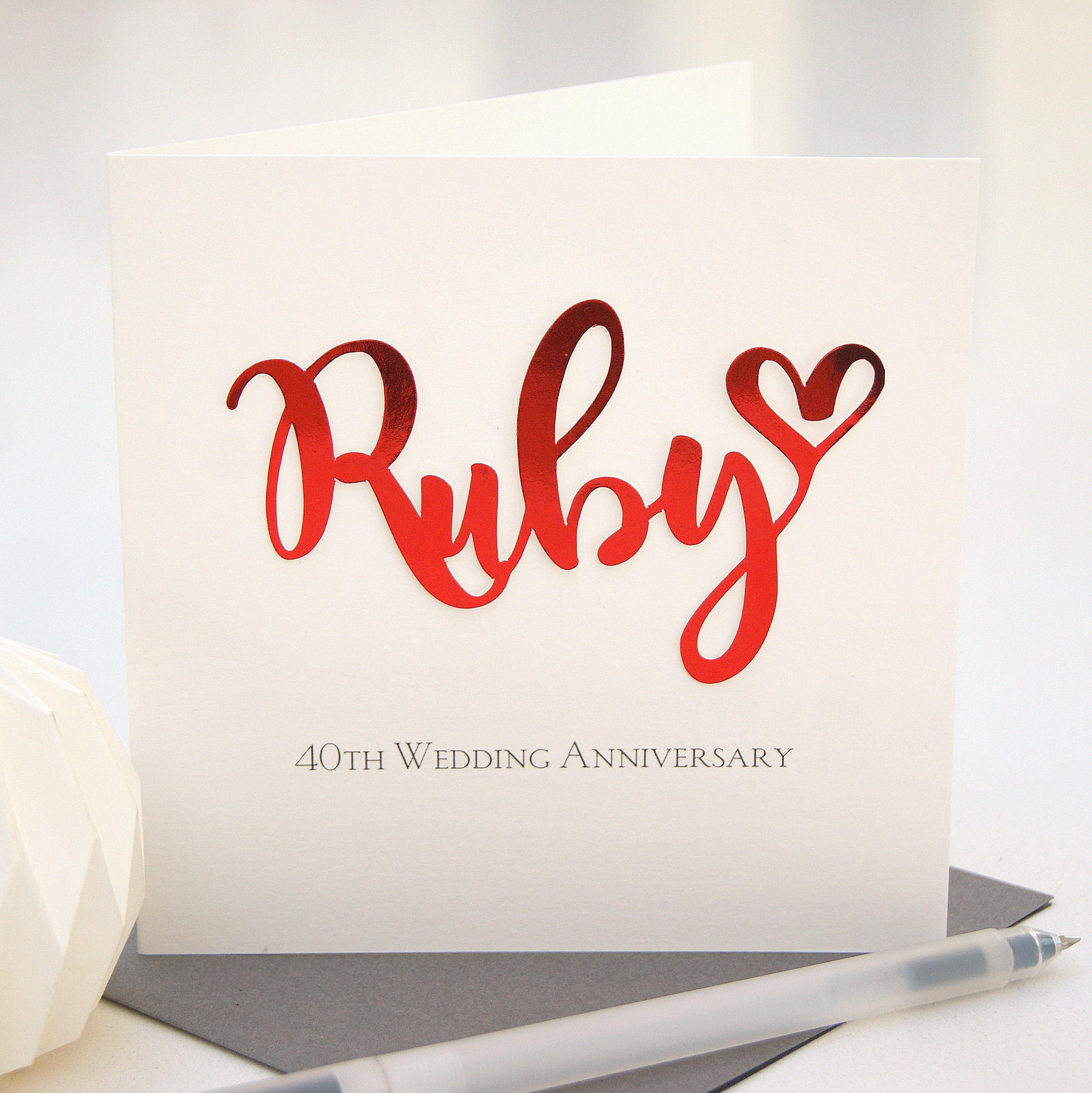 Ruby 40th Wedding Anniversary Card  Shop Online  Hummingbird Card Company