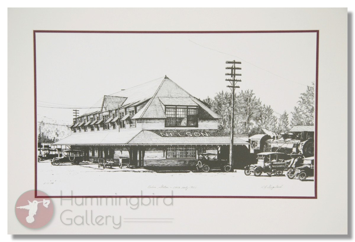 Hummingbird Gallery Nelson-Train-Station-Matted Home