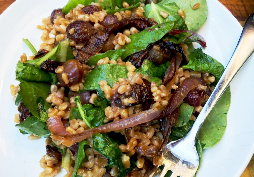 Farro and Roasted Grapes with Greens