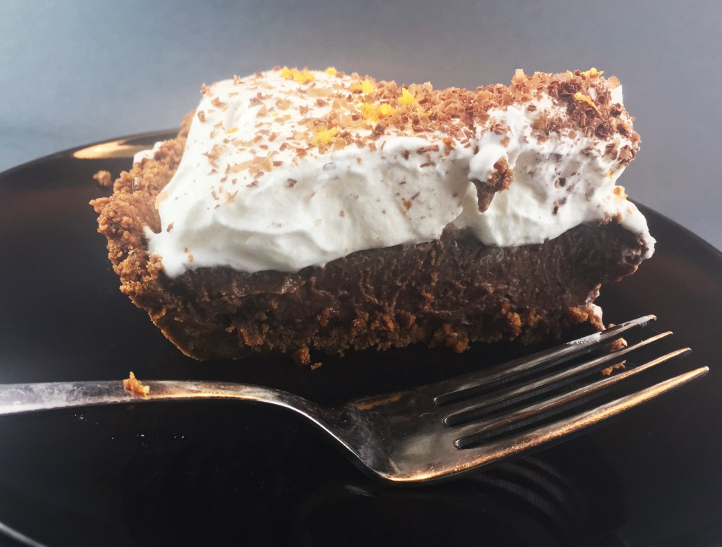 Chocolate Pie with Orange in Gingerbread Crust