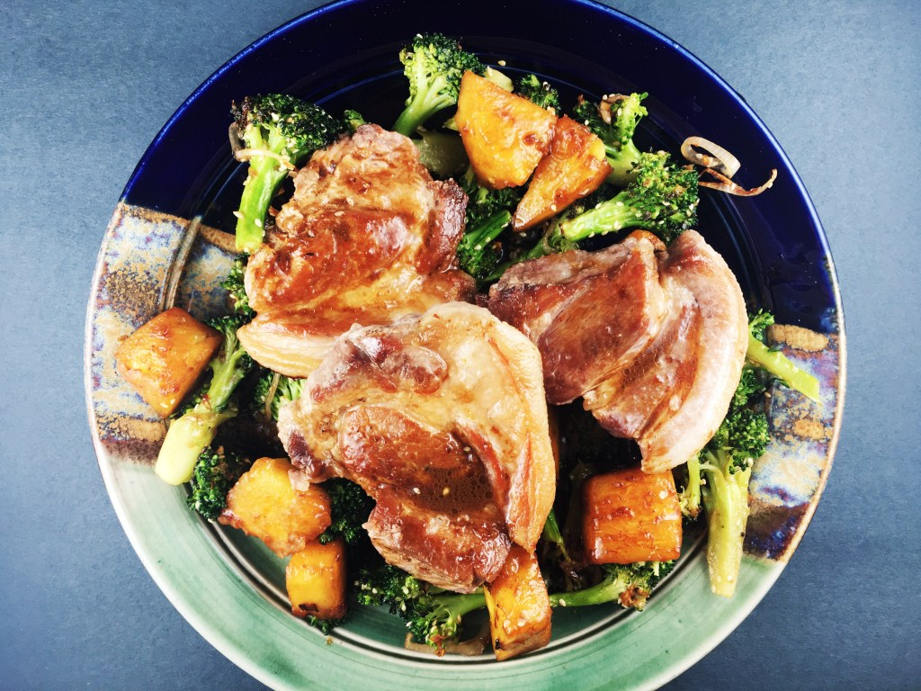 Pork Shoulder Pineapple and Roasted Broccoli