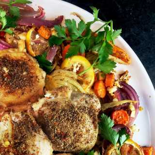 Roasted Vegetable Medley with Chicken and Feta