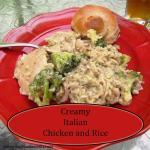 Crock Pot Creamy Italian Chicken & Rice Casserole. A perfect all in one easy dinner meal. Comfort food at its finest with NO cream of soups in sight!