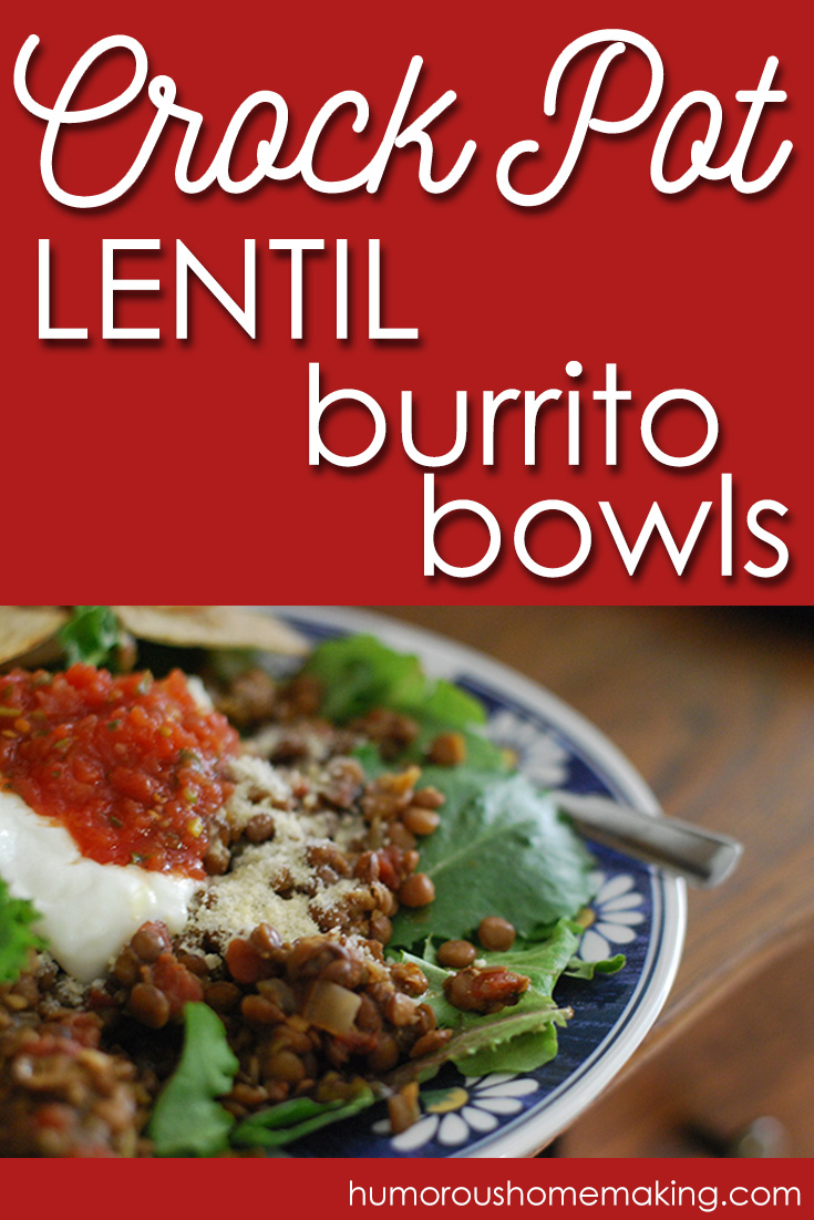A Chipotle style burrito bowl... but with lentils! Frugal & delicious!! And it's made in the crockpot to make your life easier!