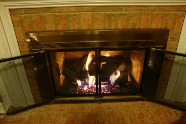 fireplace on