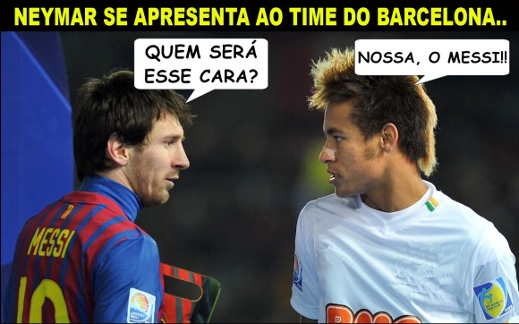 Neymar e Messi se encontrando no Barcelona