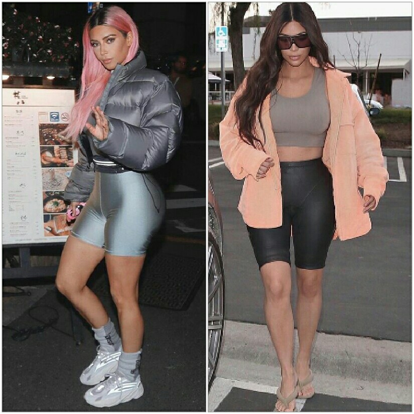 Kim Kardashian steps out in a hoodie and biker shorts