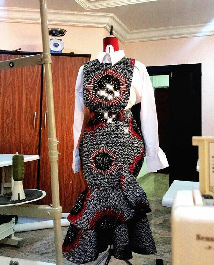 ankara office gown