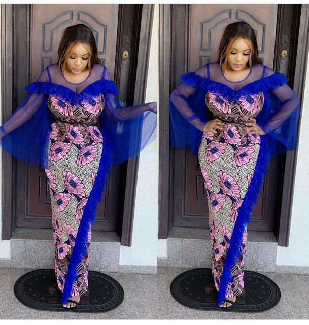 Long Ankara gown with net