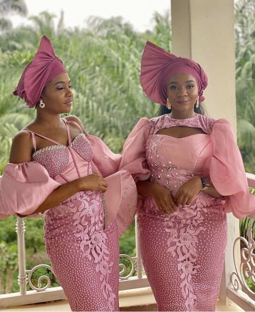 Pink lace dress for owanbe 2021