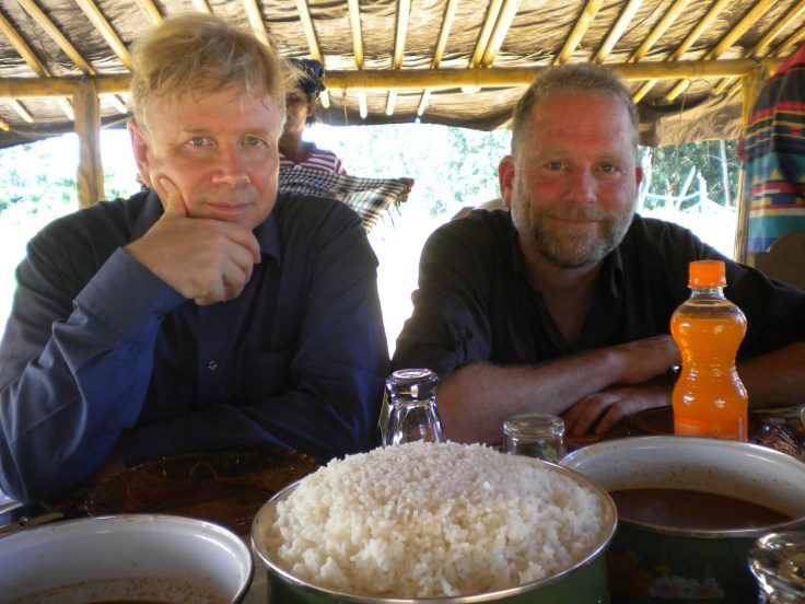 With Fred Scott on camera somewhere in Africa