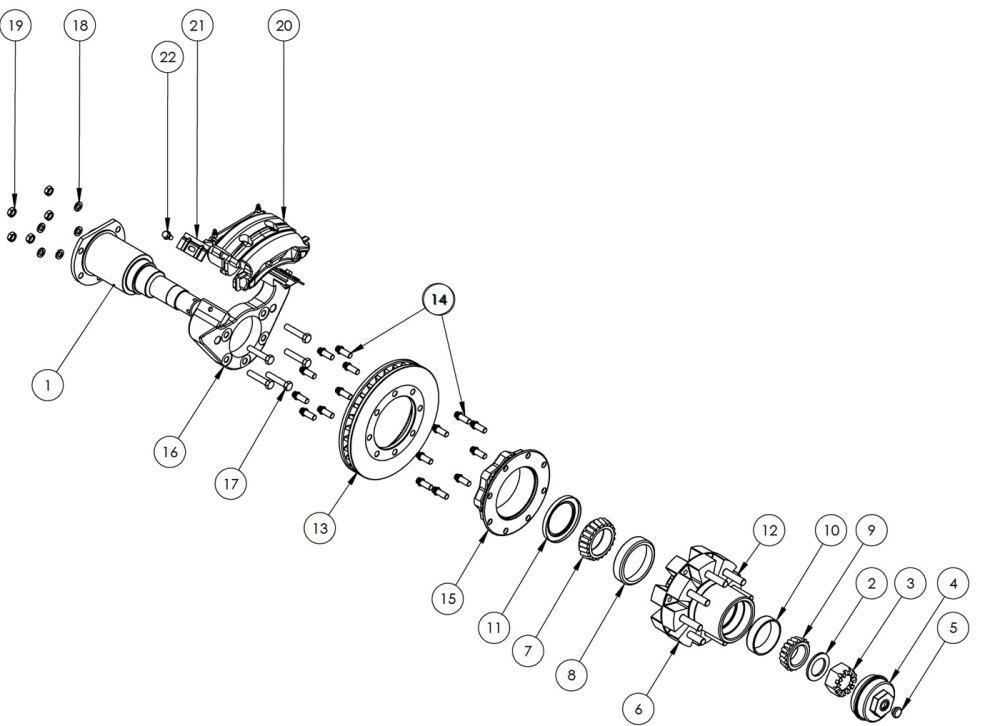 medium resolution of kodiak rockwell american 12k dual wheel axle disc brake parts illustration