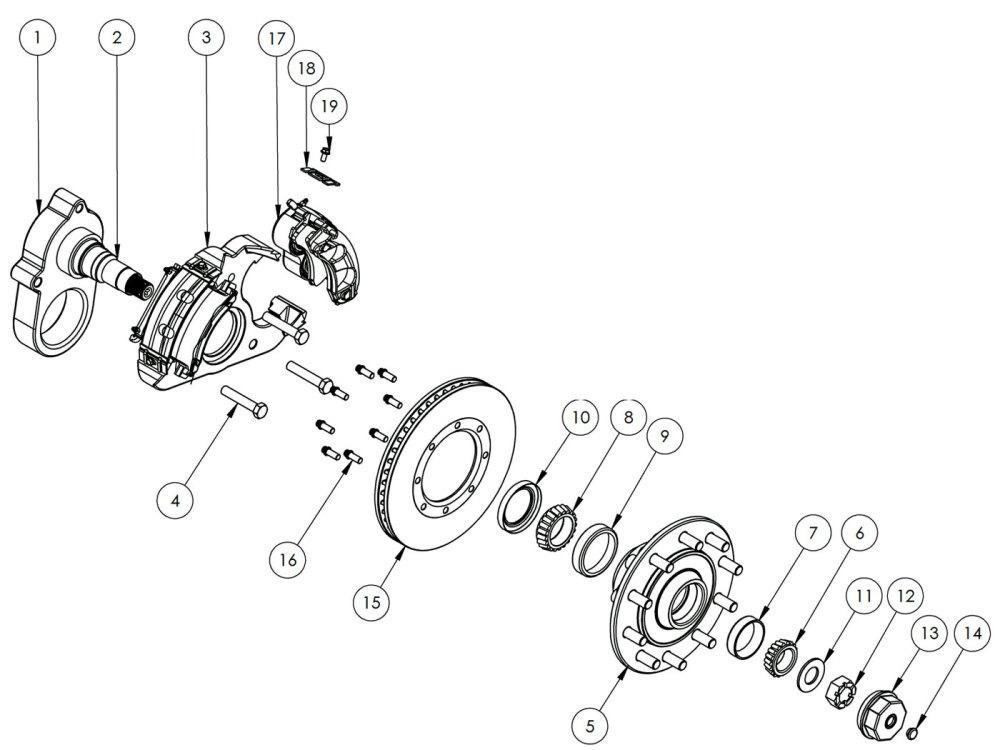 medium resolution of kodiak 14k special single wheel axle disc brake parts illustration