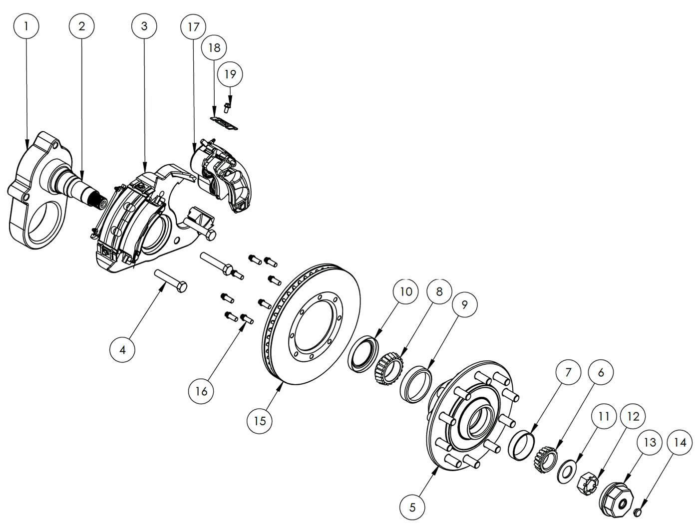 hight resolution of kodiak 14k special single wheel axle disc brake parts illustration