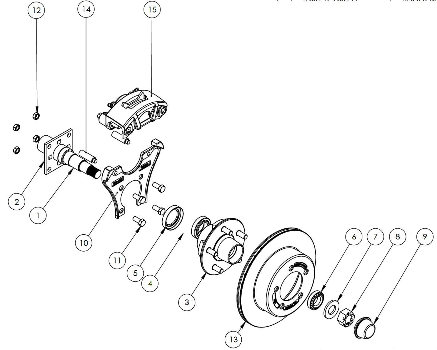 hight resolution of kodiak 3 5k 10 inch rotor surge disc brake parts illustration