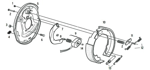 small resolution of dexter 10 x 2 1 4 inch electric brake parts illustration