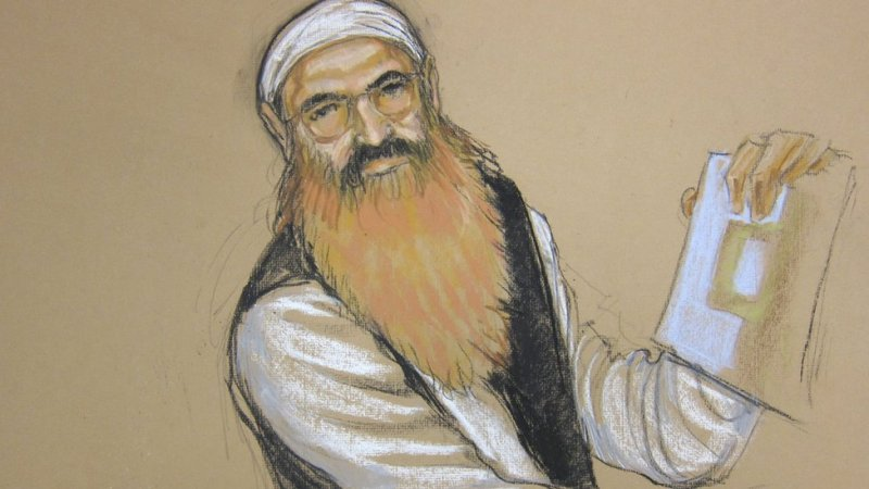 Artist sketch of Khalid Sheikh Mohammed during a pre-trial hearing at Guantanamo Bay, Cuba, on October 15, 2012