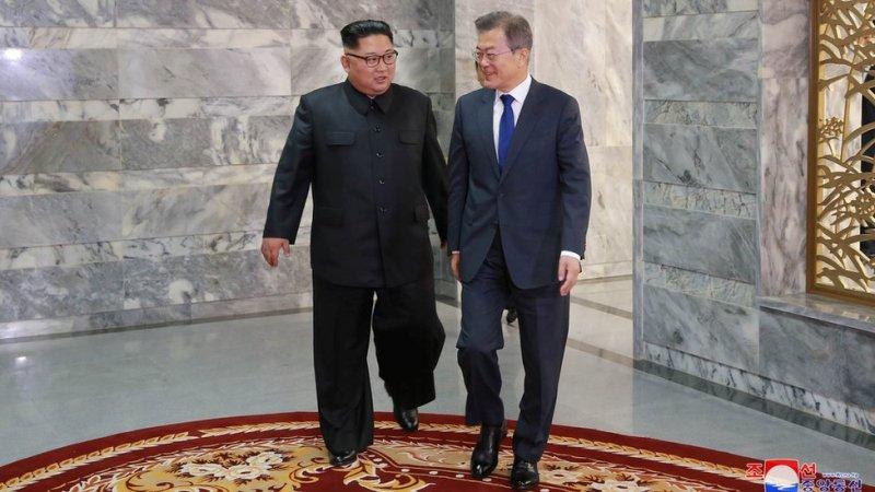 Both Korean leaders meet at the truce village of Panmunjom, North Korea