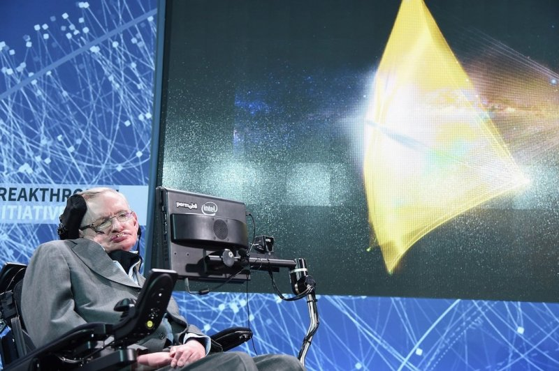 Cosmologist Stephen Hawking on stage at the New Space Exploration Initiative 'Breakthrough Starshot' - in New York City, 12 April 2016.
