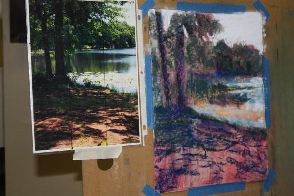 Pastel artwork of tree near shoreline