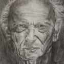 Black and White Drawn Portrait of Old Man