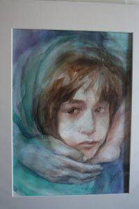 Watercolor portrait of girl