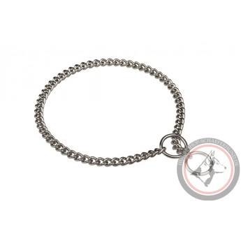 Elegantes Schäferhund Halsband aus Stahl, verchromt und
