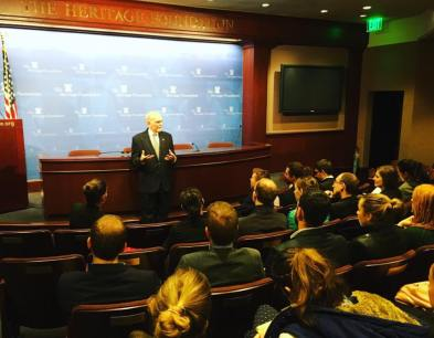 YHLP 2017 participants at the Heritage Foundation with Dr Lee Edwards