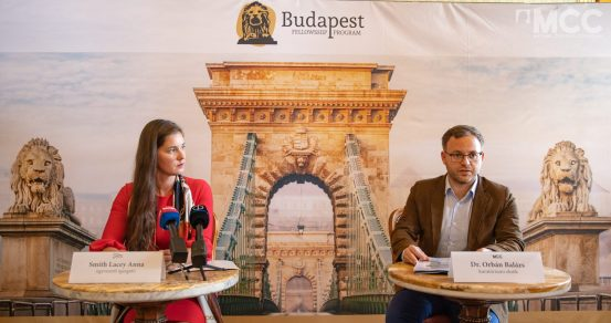 Anna Smith Lacey, HIF Executive Director, and Dr. Balázs Orbán, Chairman of the Board at MCC at the press conference.