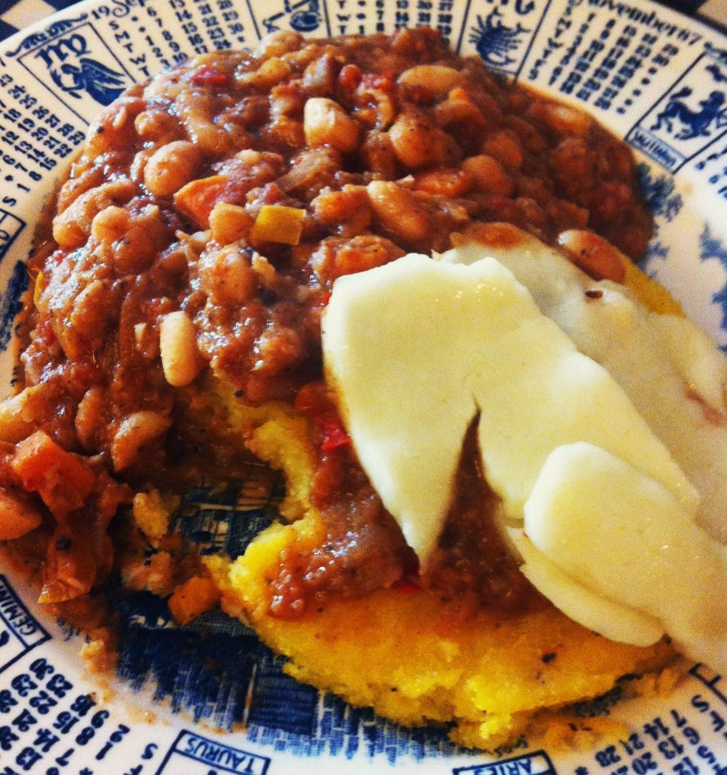 Milgi Beans on Polenta Toast with Halloumi