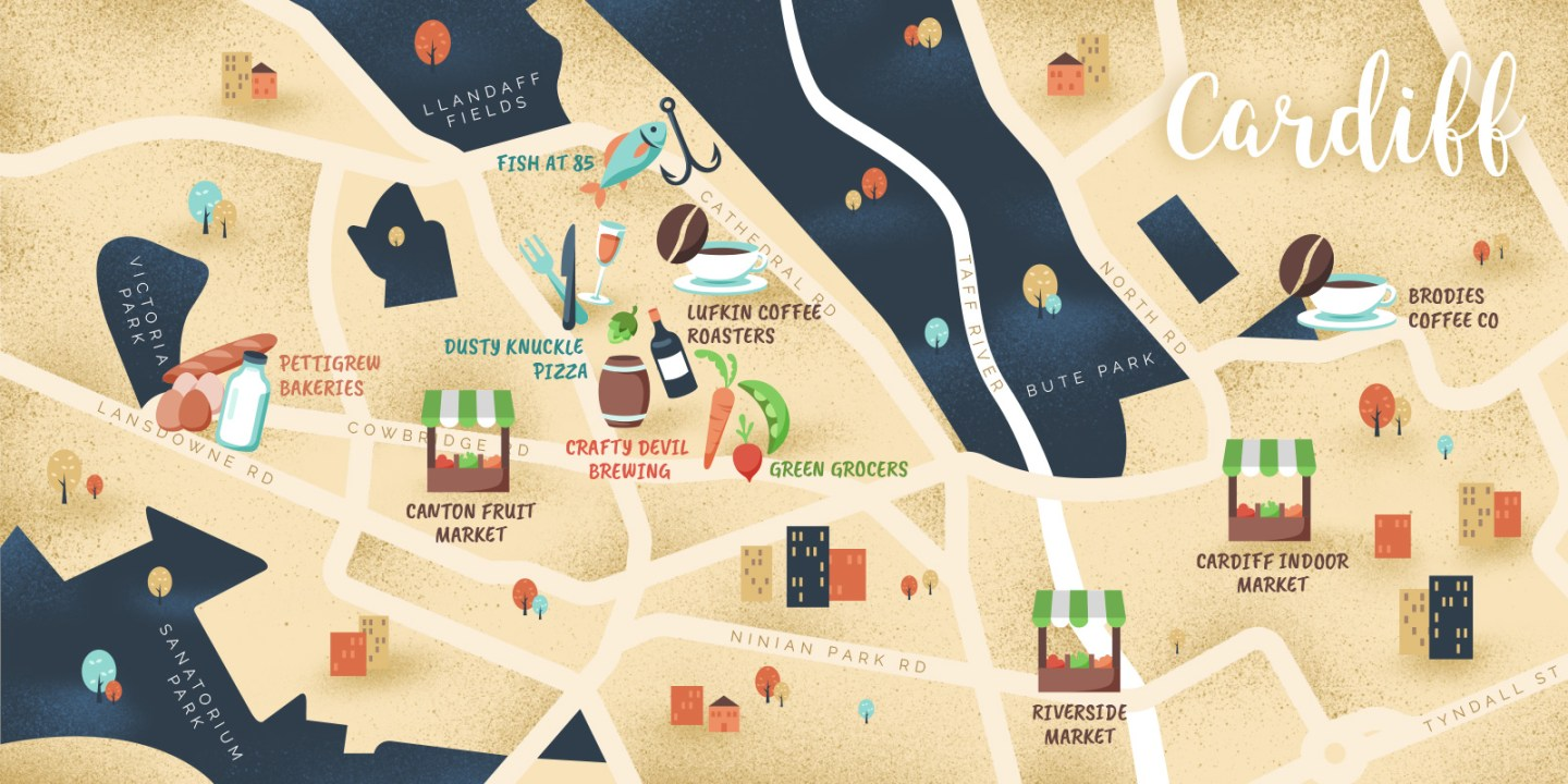 The HungryCityHippy map of Cardiff's ethical eats