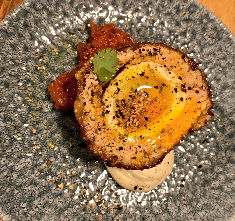 Chicken and pork scotch egg