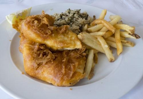 Fresh Alaskan halibut fish and chips.