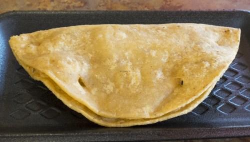 Hard shell potato taco.