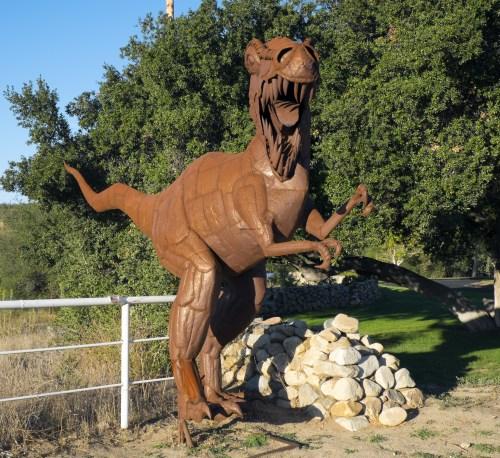 Metal dinosaur guarding the entrance to Vail Lake Resort.