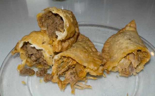 Beef and chicken empanadas.
