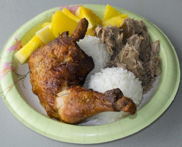 Huli huli chicken, kalua pork, Hawaiian pineapple.